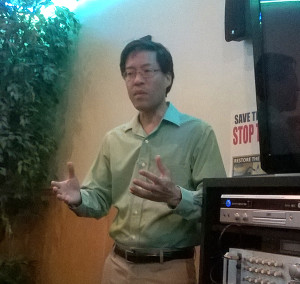 Richard Pan answers questions from the American River Democrats.